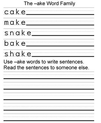 Word Family Ake Worksheet