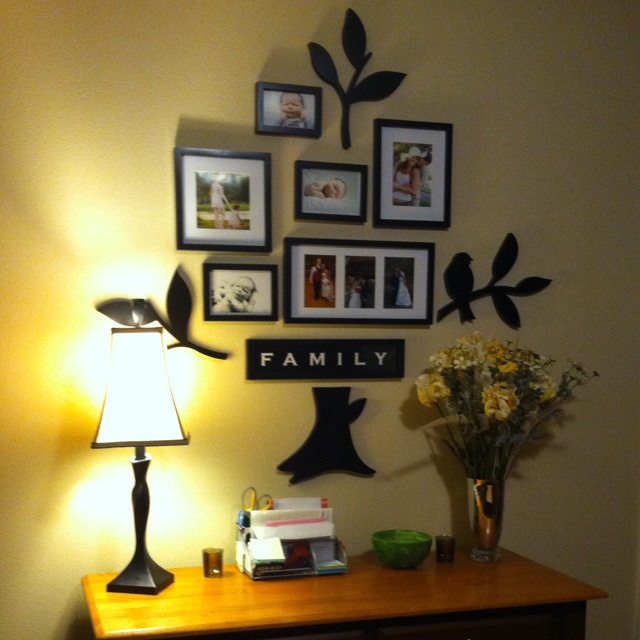 Family picture collage wall-simpler than painting the whole tree!!
