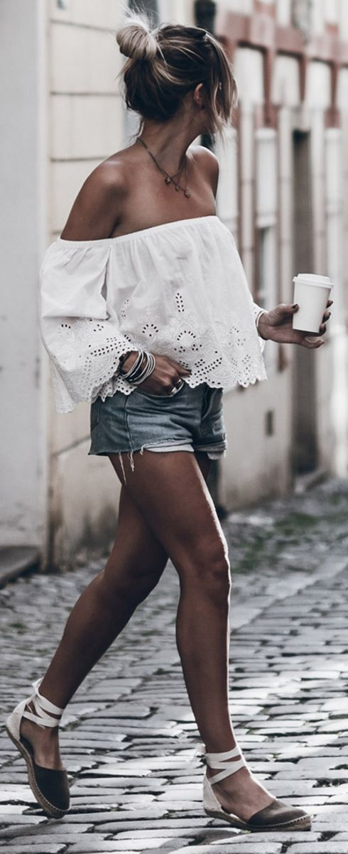 #summer #trending #outfits    White Lace Off The Shoulder Top + Denim Shorts