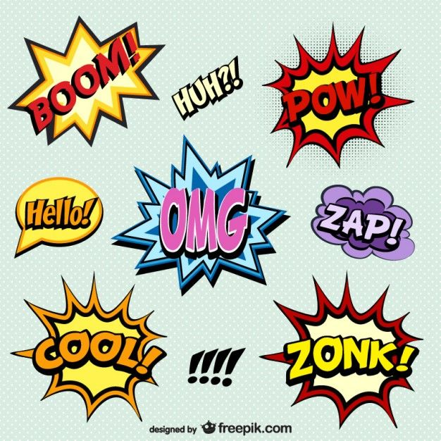 Comic book words onomatopoeia, free for download and use