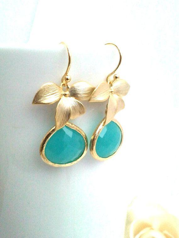 Mint Blue Wedding Earrings Bridesmaid Gift Wedding by LaLaCrystal