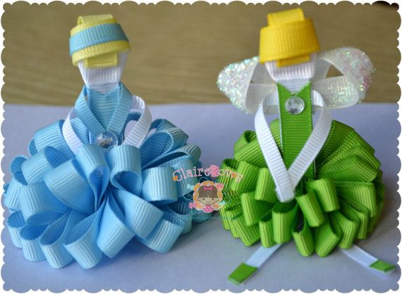 Set of Two Loopy Puff Princesses Cinderella by ShopClaireBows, $15.00