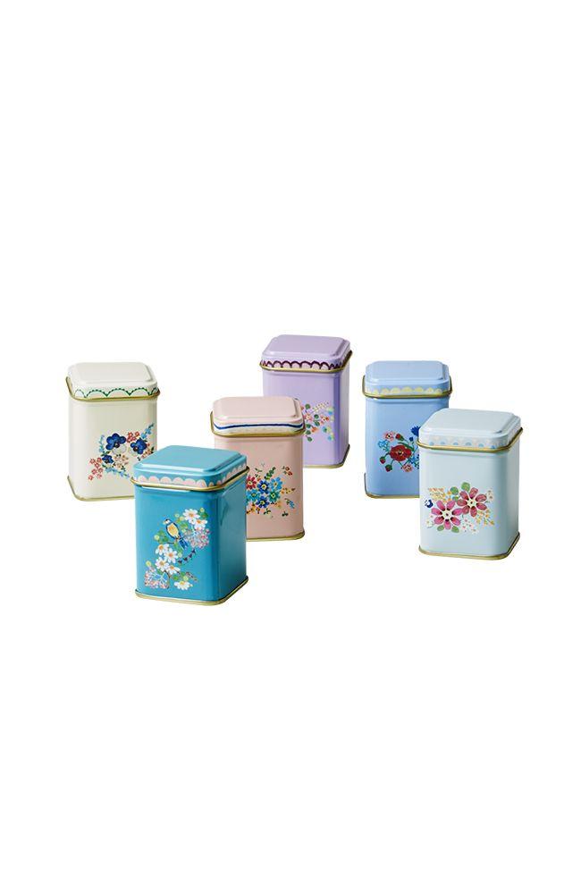 Scatole piccole metallo, Rice, disponibili nei seguenti colori: panna, rosa, azzurro, verde, verde acqua, lilla.