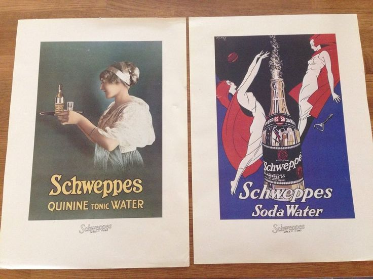 Schweppes Advertising Prints Quinine Tonic Water & Soda Water