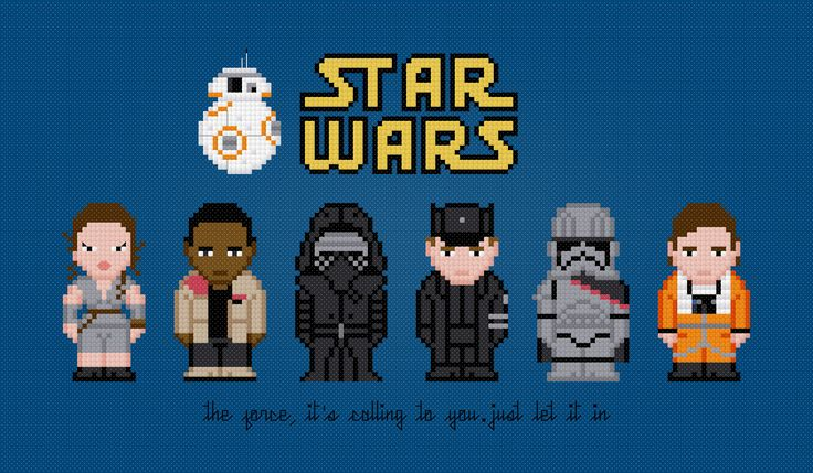 Star Wars - The Force Awakens - PixelPower - Amazing Cross-Stitch Patterns http://www.pixelpowerdesign.com/shop/movies/product/show/440-star-wars-the-force-awakens