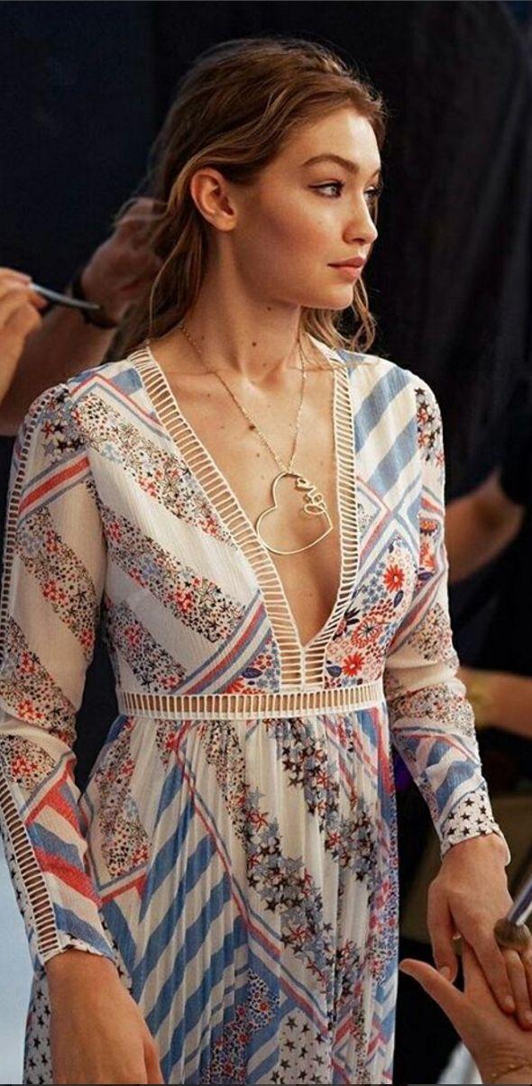 Who made  Gigi Hadid's white print maxi dress?