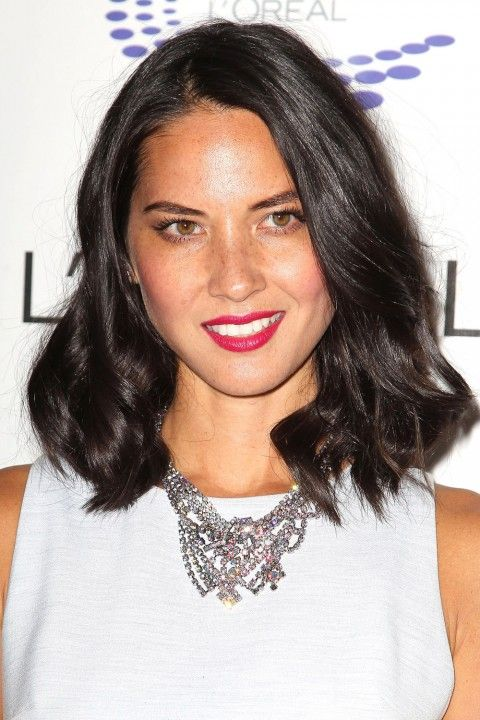 Hairstyles For Round Faces. Olivia Munn's medium hairstyle is great for round face girls because it gives a more boxy look to your round face, giving it back some definition and edge. Read more at http://www.marieclaire.co.uk/beauty/galleries/36726/0/hairstyles-for-round-faces.html#2klGfmtdhUSm7y65.99
