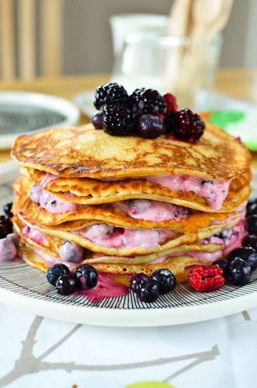 traditional Scandinavian pancake tower: thin, crispy edged crepes layered with thick yoghurt #Finland #Scandinavia #Europe