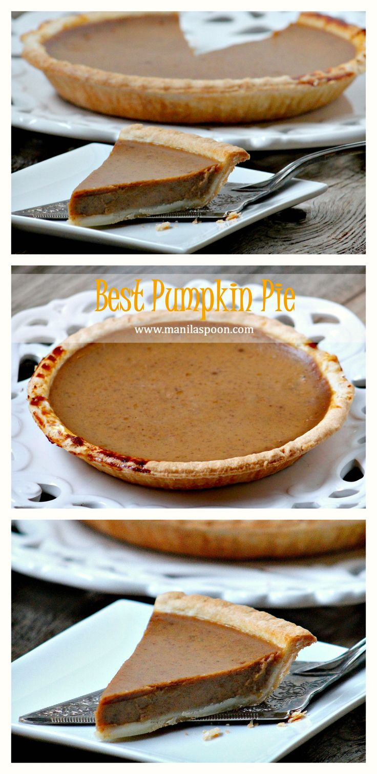 After making this, I will never make pumpkin pie any other way - it's that good! The combination of spices give this pie the most wonderful taste that will truly tickle your taste buds! BEST PUMPKIN PIE RECIPE (Manila Spoon)