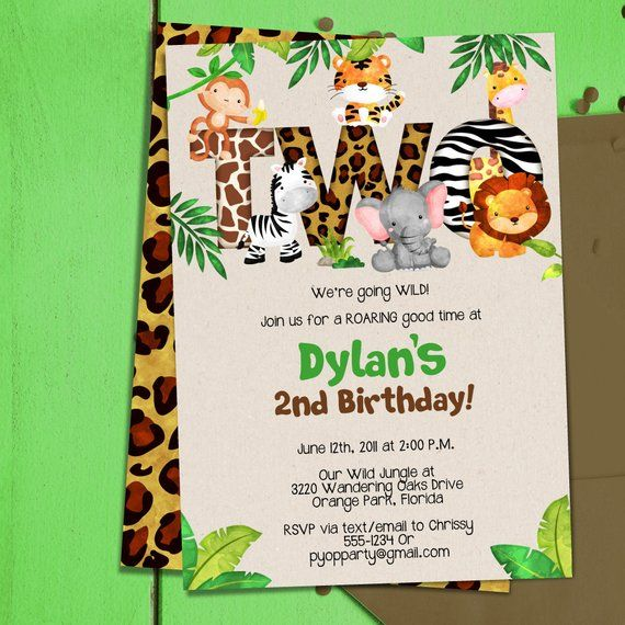 jungle 2nd birthday party invitation