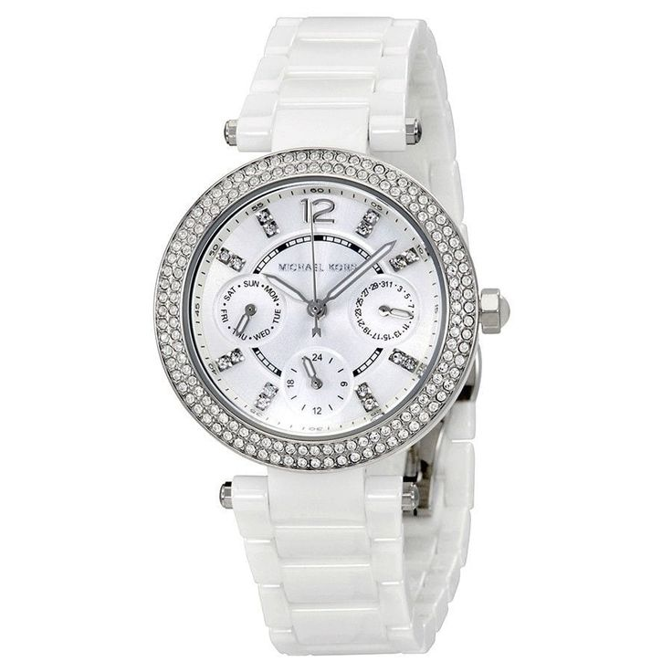 Michael Kors Women's MK6435 'Mini Parker' Multi-Function Crystal White Watch -