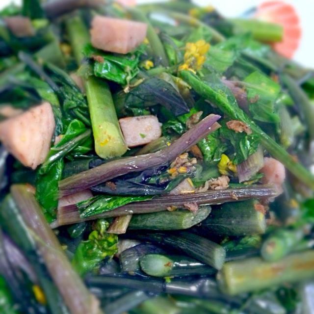 紅菜苔、クセも無く食べやすくでオススメです - 5件のもぐもぐ - 紅菜苔とスパム炒め by akarizumu