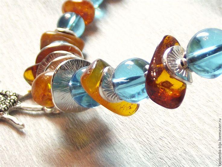 """Бусы, колье """"Лето. Солнце. Море. Пляж."""" Necklace, amber."""