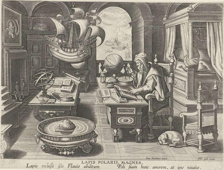 Philips Galle | Uitvinding van het kompas, Philips Galle, c. 1589 - c. 1593 | De wiskundige Flavio Goija, volgens legende de uitvinder van het kompas. zit in zijn studeerkamer en maakt met zijn passer enkele berekeningen. Op zijn werktafel allerlei wetenschappelijke instrumenten. Een maquette van een galjoen hangt van het plafond. De prent heeft een Latijns onderschrift en maakt deel uit van een negentiendelige serie over nieuwe uitvindingen en ontdekkingen.
