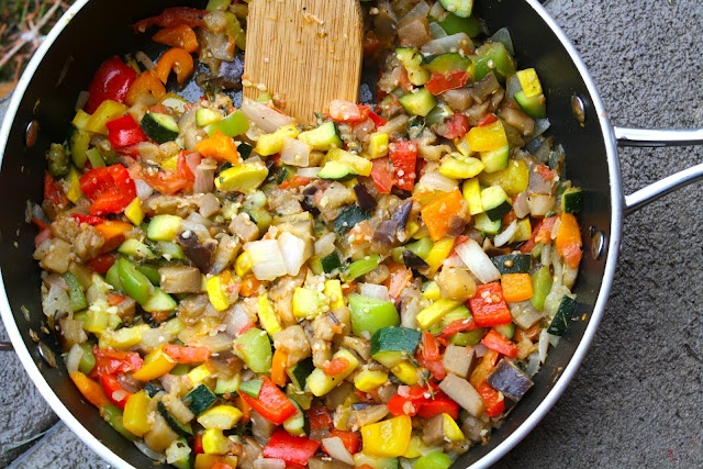 Ratatouille too.  1/3 c EVOO  Small Eggplant  1 Yellow Squash  1 Zucchini  1 Onion  1/2 a Green, Yellow, Red, & Orange Pepper  1 1/2 T Garlic  1 T Thyme  2 Tomatoes  Salt/Pepper  parsley  Chop veggies, fry egg plant in EVOO for 15 min stirring occasionally. Slide egg plant to side, add zuccini and squash for 3 min, mix in egg plant and cook 10 min. Add onion, peppers, tomatoes and spice and stir. Cook until tomato begins to break down. Sprinkle with parsley and serve.