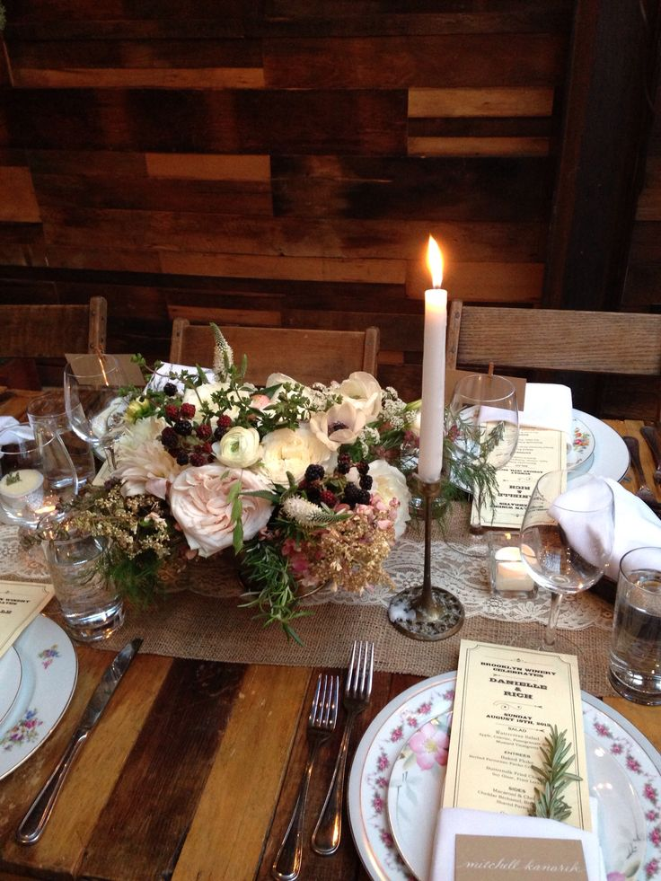 Rustic wedding centerpiece at brooklyn winery by mfp