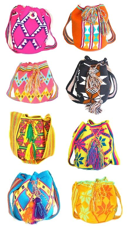 Susu bags woven by the women of the Wayuu tribe