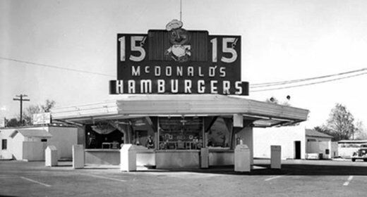 Ray Kroc suggested that Richard and Maurice McDonald franchise their small business and opened the first McDonald's restaurant in 1955, creating a new fast food experience.Going out and getting a few hamburgers was a treat and a way of bonding for the families of the 1950's.