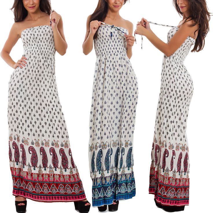 Abito donna lungo bandeau fantasia vestito estivo copricostume etnico AL-313 – …