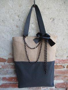 Grand sac cabas en toile de jute naturelle et coton noir motifs petits pois entièrement doublée : Sacs à main par les-voilages-de-caroline