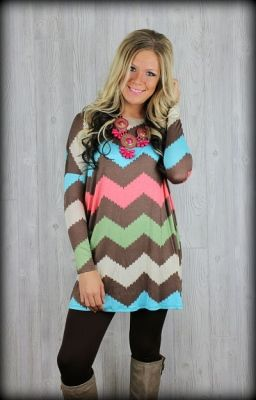 chevron mulit colored dress, turquoise mint chevron tunic dress $39