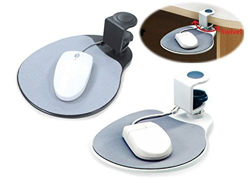 MAX SMART Ergonomic Mouse Pad / Mouse Platform/ Attachable Desk Shelf Clamp on Rotating 360 under Desk (platinum)