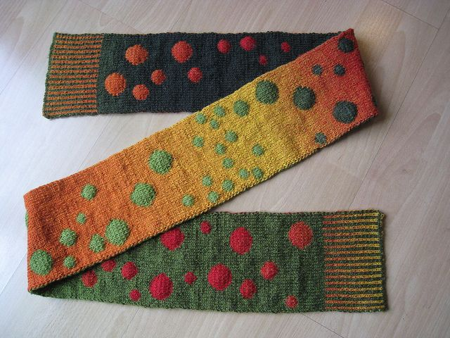 This knitter has made three different versions of the Bubbles Scarf--isn't this one lovely?  http://lucyneatby.com/index.php?specific=1000479  #2 Bubbles-11 by rena564, via Flickr