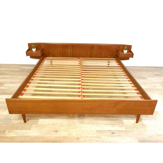 Rare and exceptional danish modern teak california king for Pinterest platform bed