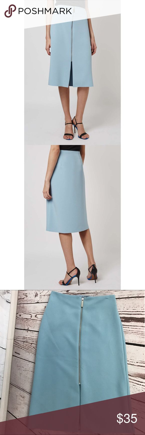 """💜💜 NWT ZIP DETAIL MIDI SKIRT B33 Condition: New but has fraying at hem and marks from the hanger clips  Approximate measurements (laying flat): 13.25"""" Waist 27.25"""" length  Item location: bin 33   **bundles save 10%** no trades/no modeling/no asking for lowest Topshop Skirts Midi"""