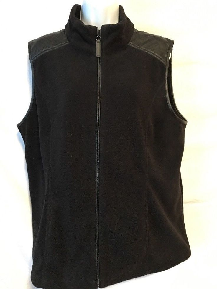 Susan Graver Weekend Women XL Black Fleece Zipper Vest Jacket Polyester    eBay