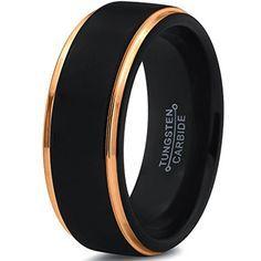 8mm Black 18k Yellow Gold Step Edge Tungsten Ring