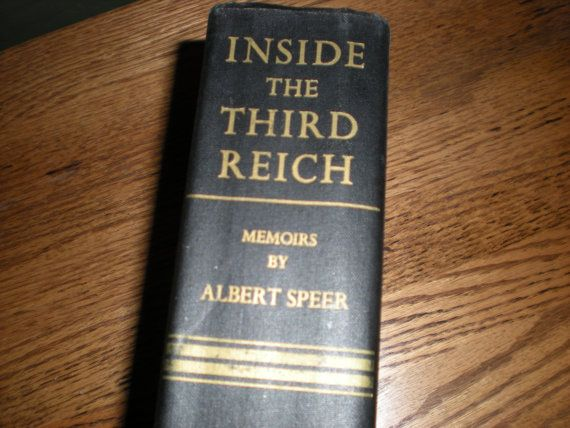 From my collectors library, I present to you this FIRST EDITION FIRST PRINTING of Inside the Third Reich: Memoirs of Albert Speer, published by The Macmillan Company, NY, in 1970. It measures 8 1/8 x 5 1/2 x 1 5/8. and has a black cloth hardcover, gilt gold stamped title on spine cover with 596 clean tight unmarked pages, has no dust jacket and is in near fine clean condition except for previous owners name Gunther carefully etched on fore edge in black ink (photo #4). It is in three parts…