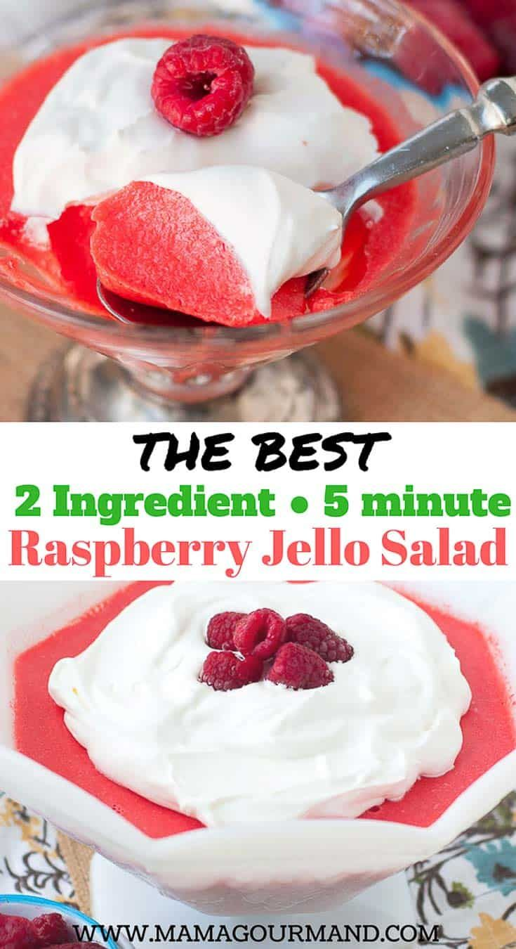 The Best Raspberry Cream Cheese Jello Salad is such an easy jello salad recipe you'll be blown away by how creamy and delicious it is! You only need 5 minutes and 2 ingredients to pull off this jello salad. If you need a quick and painless side dish for your upcoming holiday meal, you will love this recipe! #jellosalad #easter #thanksgiving #christmas #potluck #jello #vintagerecipes #easyjellosalad #creamyjello https://www.mamagourmand.com via @mamagourmand