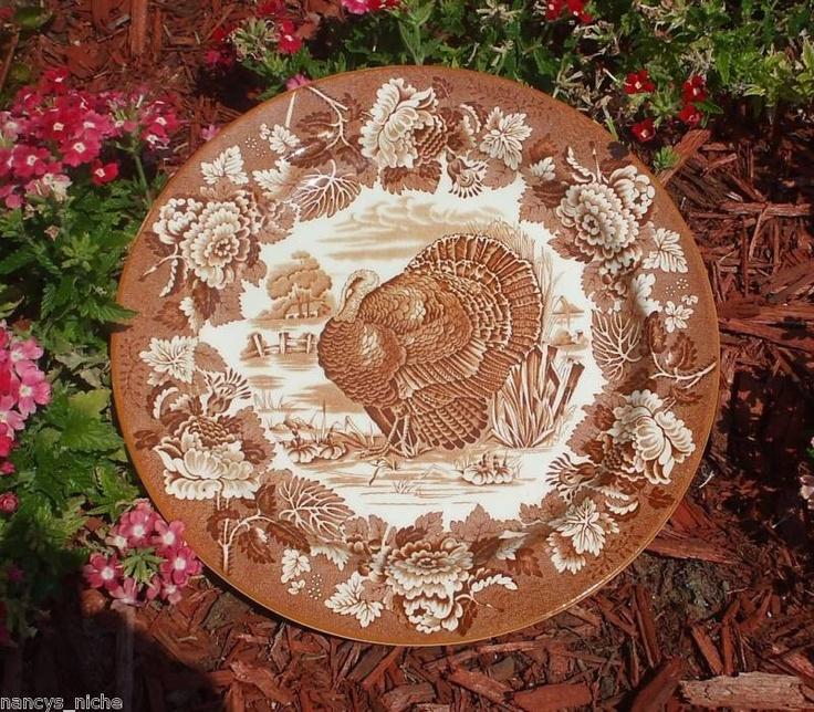 Enoch Wood Vintage Brown Transferware Turkey Plate.