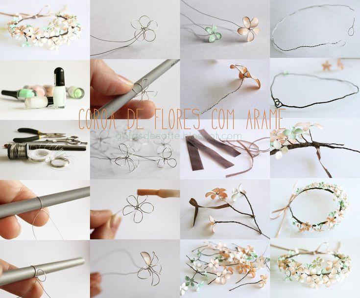 Gotas de Café - Fotografia, Arte, Resenhas e Muito mais.: [ D.I.Y ] Coroa de flores feita de arame