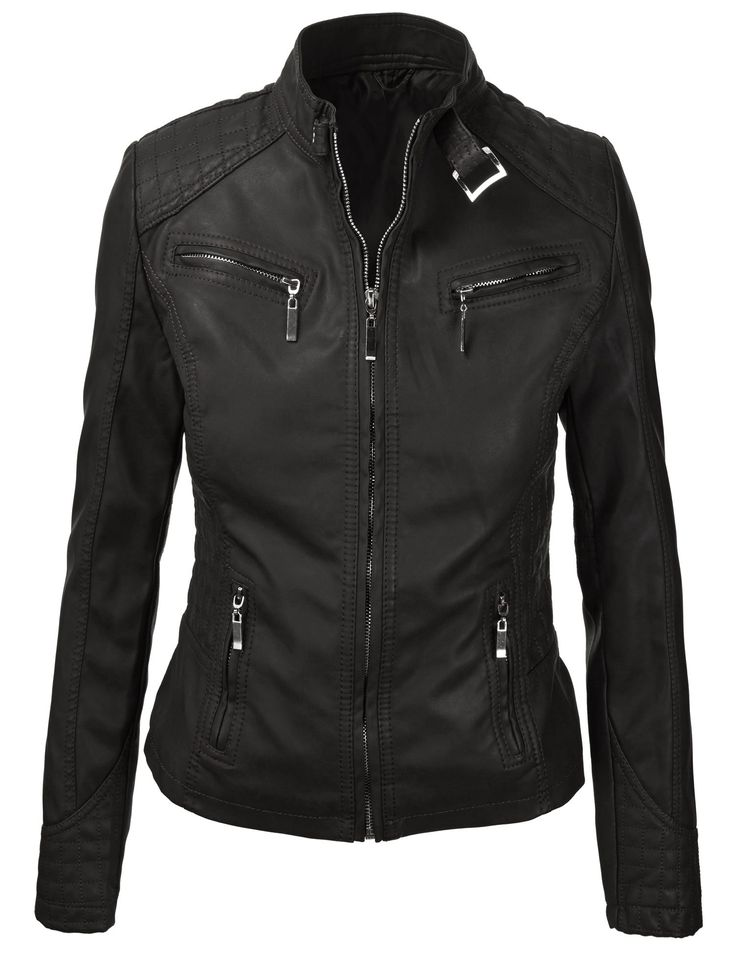 Mbj Womens Panelled Faux Leather Moto Jacket 29 95