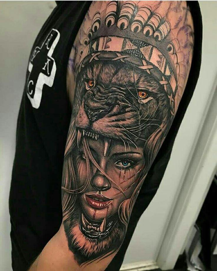 Hyper Realistic Portrait Tattoo Of A Native