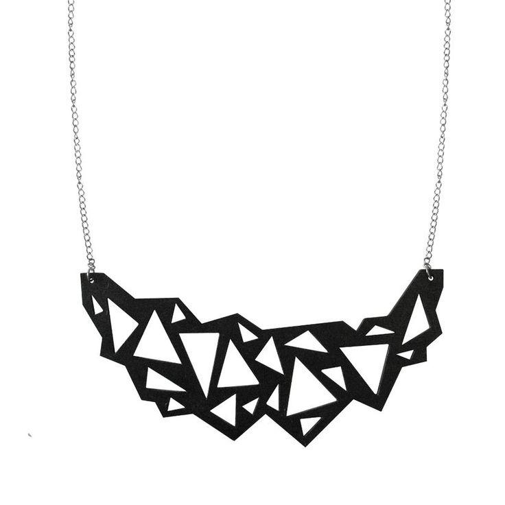 Crystal necklace, 35 €.  Geometric statement necklace by Nouseva Myrsky! #geometric #minimalist