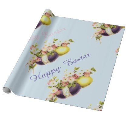 #vintage - #Vintage Easter Eggs with cherry blooms Wrapping Paper