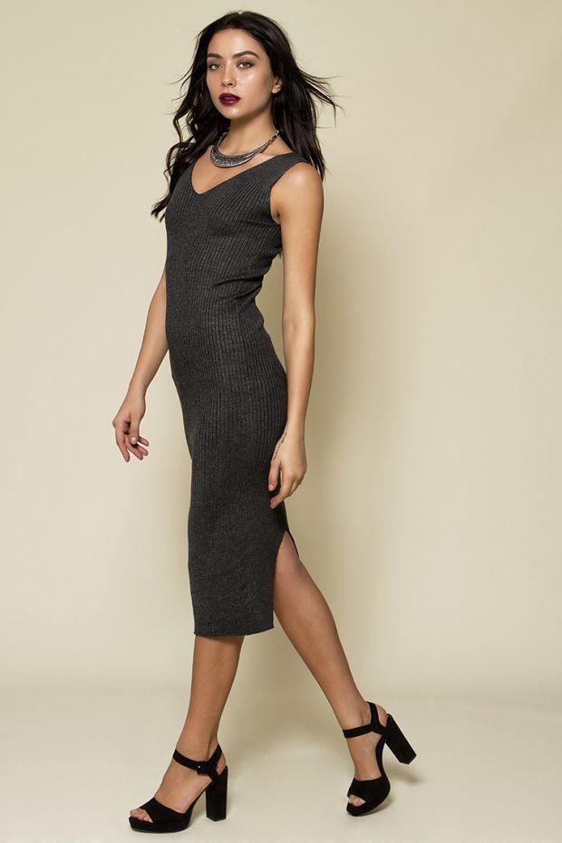 Midi rib φόρεμα