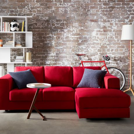 red couches living room. love the brick walls with comfy red sectional  Best 25 Red sofa ideas on Pinterest decor couch