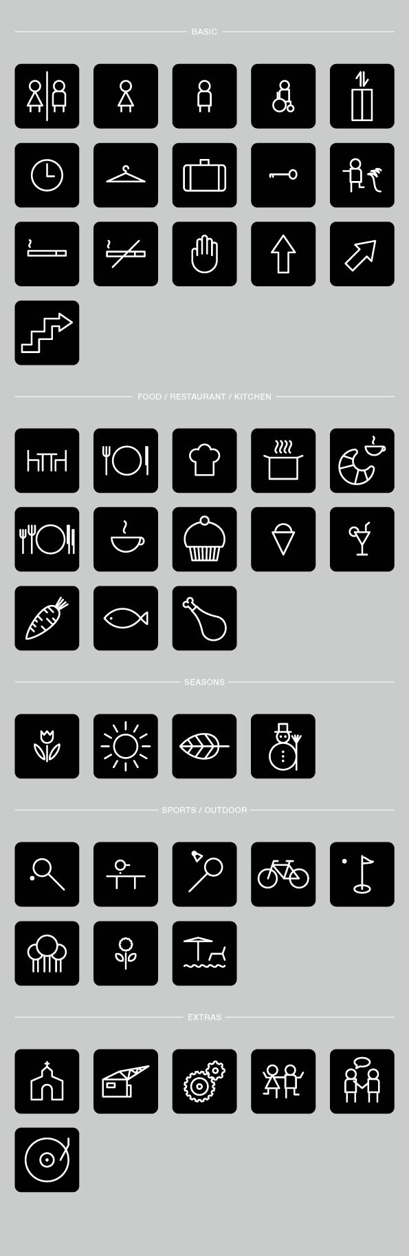 Hotel Pictograms - Full Version by Robert Karpati, via Behance