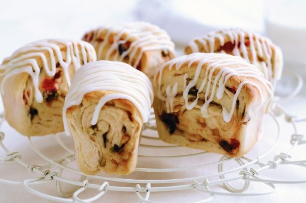 Stollen is a traditional German Christmas bread filled with fruit and nuts.