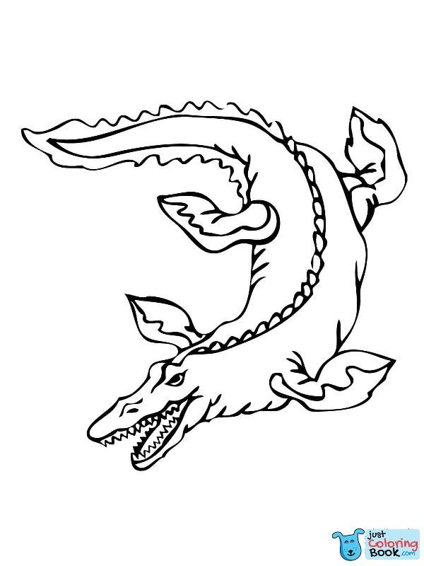 Mosasaur Coloring Page Free Printable Coloring Pages Inside