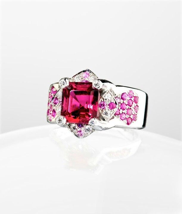 Baby Orchid ring Rubellite, Pink Sapphires, Diamonds, White Gold