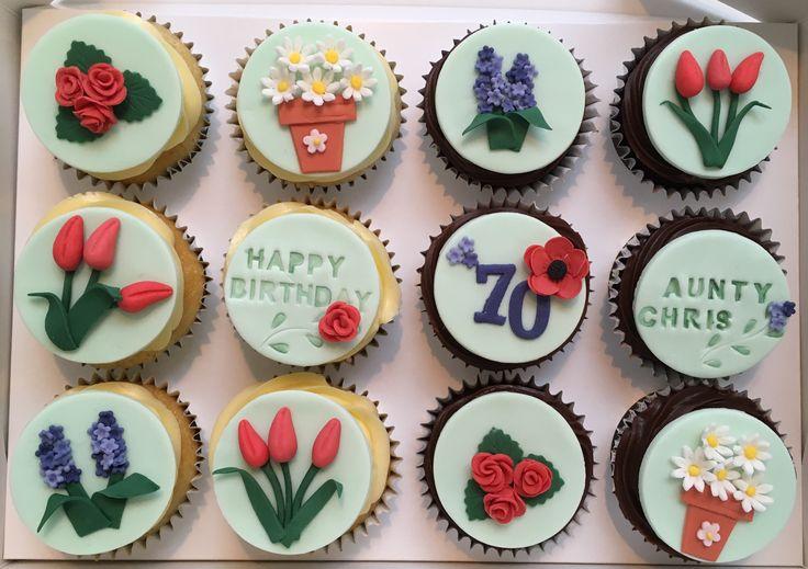 Flower garden themed cupcakes 70th Birthday