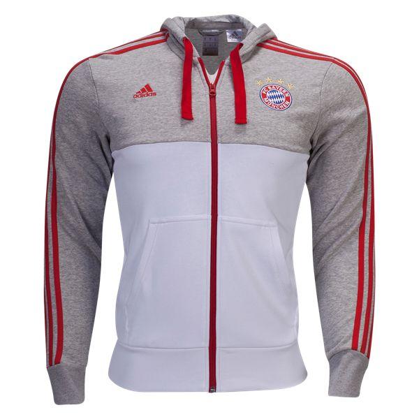 adidas Bayern Munich Hooded Jacket - WorldSoccershop.com | WORLDSOCCERSHOP.COM #adidas #Soccer #Jacket