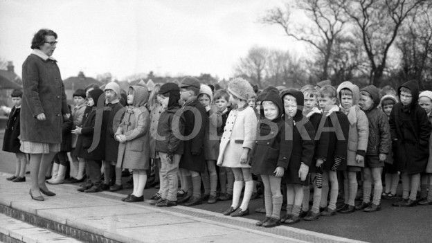 Lining up in school playground '60s. Still have to line up to go into school ;-)