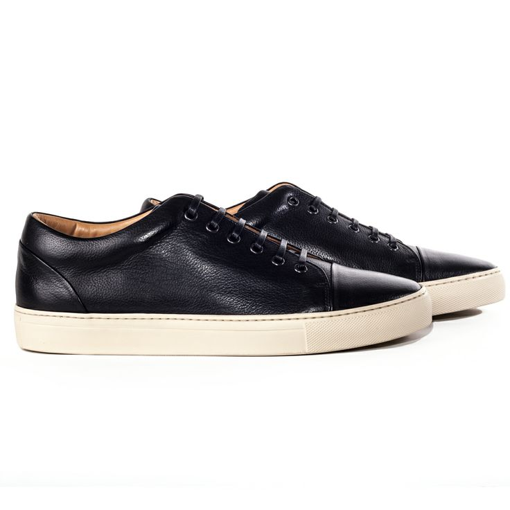 SULFUR - Men's black low cut minimalist leather sneaker from