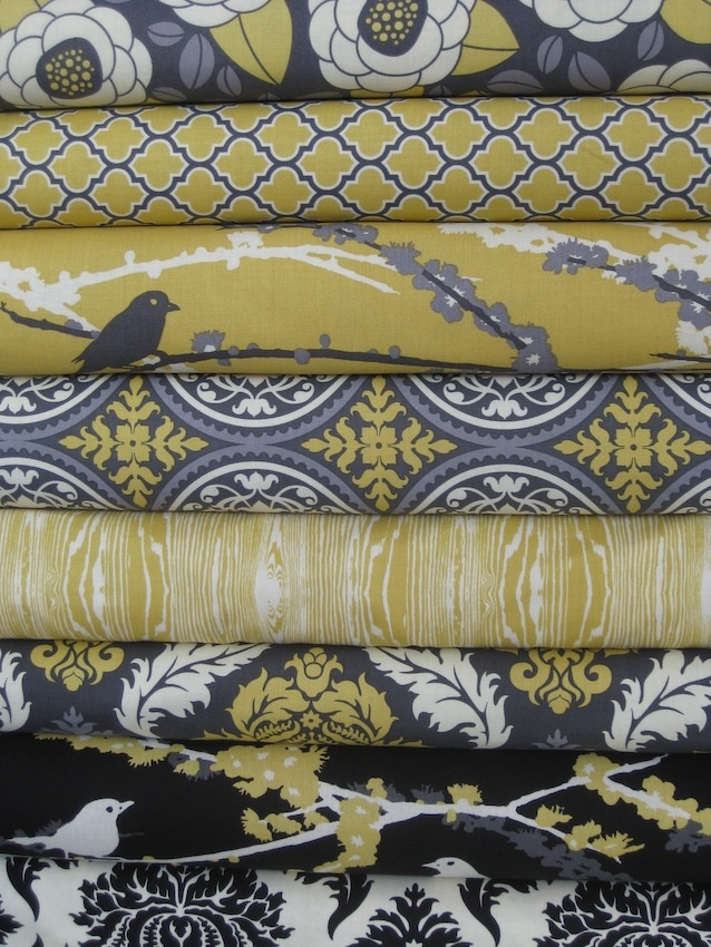 fabulous fabric in vintage yellow and granite grey